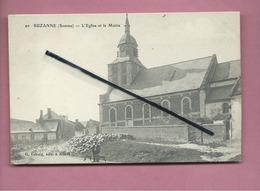 CPA -  Suzanne -(Somme) - L'église Et La Mairie  (berger , Mouton , Moutons , Chien , Chiens ) - Otros Municipios