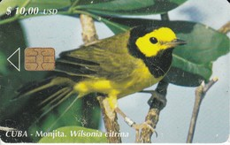 173 TARJETA DE CUBA DE EL PAJARO LA MONJITA (BIRD) (rozada) - Cuba