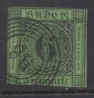 M532.-. BADEN- GERMANY. 1851. MI#: 3b. 6K GREEN. CAT VAL: EUR60. SHORT MARGINS - Bade