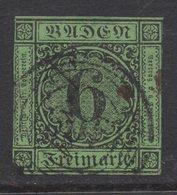 M547.-. BADEN- GERMANY. 1851. MI#: 3b. 6K GREEN. CAT VAL: EUR 60. SHORT MARGINS - Bade