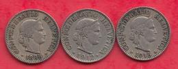 Suisse 3 Pièces De 10 Rappen Dans L 'état (1885  -1912-1915 (RARE)) Lot N °21 - Switzerland