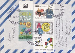 SOBRE AIRMAIL CIRC LA PLATA TO RUMANIA OBLIT BS AS 1992. MIXED STAMPS, BORD DU PLAQUE- BLEUP - Airmail