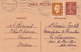 Entier Semeuse 1.20 Fr + 30 C Marianne De Dulac De Vannes Morbihan Trou D épinle - Entiers Postaux
