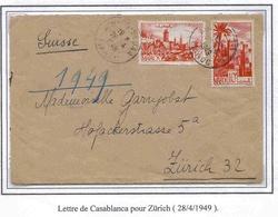 Maroc Suisse Zurich Morocco Lettre Avion Airmail Cover Casablanca 28 4 49 - Marokko (1891-1956)