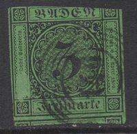 N879.-. BADEN- GERMANY. 1853. MI#: 6. 3K GREEN. CAT VAL: EUR 10. SHORT MARGINS - Bade