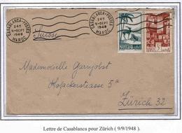 Maroc Suisse Zurich Morocco Lettre Avion Airmail Cover Casablanca 9 9 48 - Marokko (1891-1956)
