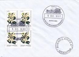 SOBRE UNUSED OBLIT FDC BS AS 1988. BLOCK STAMPS  PATA DE VACA BAUHINIA CANDICANS- BLEUP - FDC