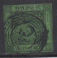 P321.-. BADEN- GERMANY. 1853. MI#: 6. 3K GREEN. CAT VAL: EUR 10. SHORT MARGINS - Bade