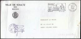France Soultz 1986 / Ville De Soultz Mairie / Coat Of Arms / Church /  Pilgrimage Millennium / Machine Stamp - Postmark Collection (Covers)
