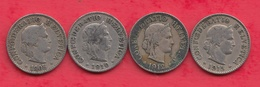 Suisse 4 Pièces De 5 Rappen Dans L 'état (1905 (RARE) -1910-1912-1915) Lot N °24 - Switzerland