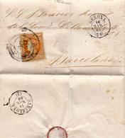 Año 1860 Edifil 52 4c Isabel II  Carta  Matasellos Rueda De Carreta 26 Gerona - 1850-68 Königreich: Isabella II.