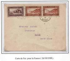 Maroc Morocco Lettre Cover Fez 26 10 38 Tarif Carte Postale - Marokko (1891-1956)