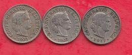 Suisse 3 Pièces De 5 Rappen Dans L 'état (1903 -1907-1917) Lot N °25 - Switzerland