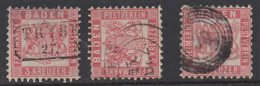 P580.-. BADEN- GERMANY. 1862. MI#: 18. 3K ROSE/RED. CAT VAL: EUR 15. CANCELS - Bade