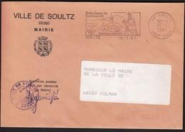 France Soultz 1991 / Ville De Soultz Mairie / Coat Of Arms / Church /  Pilgrimage Millennium / Machine Stamp - Postmark Collection (Covers)