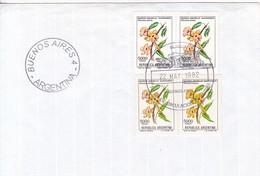 SOBRE UNUSED OBLITERE BUENOS AIRES FDC 1982 GUARAN AMARILLO GUARANDAY TECOMA STANS FLOR FLOWER STAMP- BLEUP - FDC