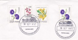 FRONT OBLITERE BUENOS AIRES FDC 1985 FLOR FLOWER STAMPS- BLEUP - FDC