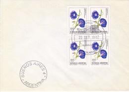 SOBRE UNUSED OBLITERE BUENOS AIRES FDC 1982 FLOR FLOWER CAMPANILLLA IPOMOLA PUPUREA BLOCK STAMPS- BLEUP - FDC