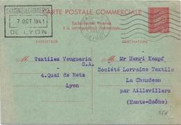 Entier Petain Carte Commerciale De Lyon Pour Aillevillers Haute Saone - Entiers Postaux