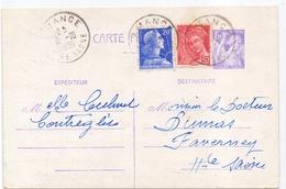 Entier Iris Carte 1.20 Fr Mercure 30 C Muller 20 Fr Utilisé A Amance Haute Saone 12 / 10 / 1959 - Entiers Postaux