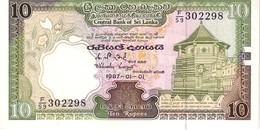 Sri Lanka P,96   10 Rupees 1987 Unc - Sri Lanka