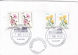 SOBRE OBLITERE BUENOS AIRES FDC 1989. FLORES FLOWERS FLEURES STAMPS- BLEUP - FDC