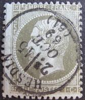 LOT R1749/144 - NAPOLEON III N°19 - BEAU CàD : HESDIN (Pas De Calais) 15 OCTOBRE 1869 - PIQUAGE DECALE - Cote : 50,00 € - 1862 Napoleon III