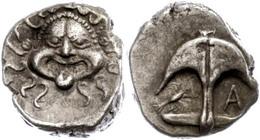 "8 Apollonia Pontica, Drachme (3,32g), Ca. 5./4. Jhd. V. Chr.. Av: Gorgoneion. Rev: Anker, Links Krebs, Rechts ""A"". SNG B - Antique"