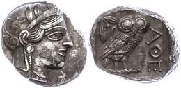 12 Athen, Tetradrachme (17,16g), Ca. 403-365 V. Chr., Av: Athenekopf Mit Attischem Helm Nach Rechts, Rev: Eule Nach Rech - Antique