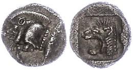 19 Kyzikos, Trihemiobol (1,14g), Ca. 5. Jhd. V. Chr. Av: Wildschweinprotome Nach Links, Dahinter Thunfisch. Rev: Löwenpr - Antique