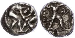 29 Aspendos, Stater (10,84g), Ca. 4./3. Jhd V. Chr. Av: Zwei Ringer. Rev: Schleuderer Nach Rechts, Rechts Triskele, Link - Antique