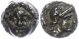 36 Selge, Obol (0,87g), Ca. 300-190 V. Chr. Av: Gorgoneion. Rev: Athenakopf Nach Rechts, Dahinter Astragalos. SNG Von Au - Antique