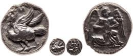 38 Mallos, Obol (0,62g), Ca. 425-385 V. Chr. Av: Kniende, Geflügelte Männliche Gestalt Mit Sonnenscheibe Nach Rechts. Re - Antique