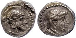 45 Tarsos, Obol (0,74g), 378-372, Datames. Av: Weiblicher Kopf Nach Rechts. Rev: Behelmter Soldatenkopf Nach Rechts, Dav - Antique