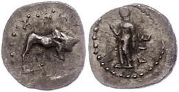 52 Kleinasien, Unbestimmte Münzstätte (Kilikien?), Obol (0,67g). Av: Stier Nach Rechts, Darum Perlkreis. Rev: Stehende G - Antique