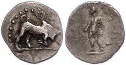 53 Kleinasien, Unbestimmte Münzstätte (Kilikien?), Obol (0,60g). Av: Stier Nach Rechts, Darum Perlkreis. Rev: Stehende G - Antique