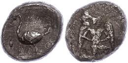 54 Mallos, AR-Stater (9,86g), 425-385 V. Chr., Av: Kniender, Geflügelter Jüngling Nach Rechts, Rev: Schwan Nach Links, D - Antique