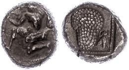 55 Soloi, AR-Stater (10,32g), 425-400 V. Chr., Av: Kniende Amazone Mit Bogen, Rev: Weinrebe, Links Schrift, Rechts Biene - Antique