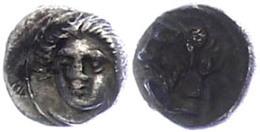 57 Tarsos, Obol (0,78g), 4. Jhd. V. Chr., Zeit Des Pharnabazos Und Datames. Av: Weiblicher Kopf Von Vorn. Rev: Bärtiger  - Antique