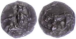 61 Tarsos, Obol (0,64g), 361-334 V. Chr., Av: Sitzender Baaltars Mit Ähre Nach Links. Rev: Löwe Schlägt Hirsch. SNG Leva - Antique