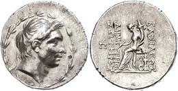 70 Tetradrachme (16,67g), 162-155/54 V. Chr., Demetrios I. Soter, Antiochia. Av. Kopf Nach Rechts, Darum Kranz. Rev: Thr - Antique