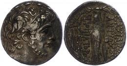 76 Antiochia Am Orontes, Tetradrachme (16,58g), Antiochos IX., 113-112 V. Chr. Av: Kopf Nach Rechts. Rev: Stehende Athen - Antique