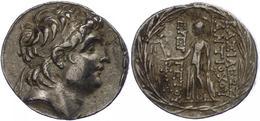 77 Antiochia Am Orontes, Tetradrachme (16,72g), Antiochos VII., 138-129 V. Chr. Av: Kopf Nach Rechts. Rev: Stehende Athe - Antique