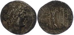 79 Ptolemais, Tetradrachme (16,11g), Antiochos VIII., 121-113 V. Chr. Av: Kopf Nach Rechts. Rev: Stehender Zeus Uranios  - Antique