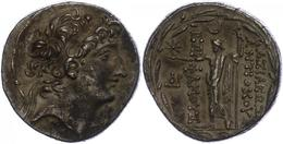 80 Ptolemais, Tetradrachme (16,25g), Antiochos VIII., 121-113 V. Chr. Av: Kopf Nach Rechts. Rev: Stehender Zeus Uranios  - Antique