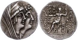 82 Tetradrachme (16,37g),125-121 V. Chr., Ptolemais, Kleopatra Thea Und Antiochos VIII., Av: Kopf Der Kleopatra Thea Mit - Antique