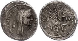 """89 C. Cossutius Maridianus, Denar (3,76g), 44 V. Chr., Rom. Av: Verschleiertes Kopf Caesars, Davor """"CAESAR"""" Und Lituus,  - Roman"""