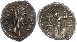 """90 P. Sepullius Macer, Denar (3,15g), 44 V. Chr., Rom. Av: Verschleierter Kopf Caesars Nach Rechts, Darum """"CAESAR"""" Und """" - Roman"""