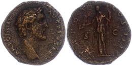 91 138-161, AE-As, Antoninus - Pius, Av: Büste Nach Rechts Mit Umschrift. Rev: Clementia Mit Patera Und Szepta Zwischen  - Roman