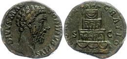 92 Marcus Aurelius, 161-180, Sesterz (19,65g), Rom. Av: Büste Nach Rechts, Darum Umschrift. Rev: Scheiterhaufen, Darum C - Roman